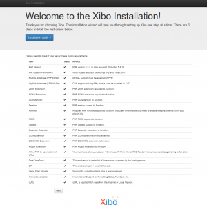 The Xibo Installation screen.
