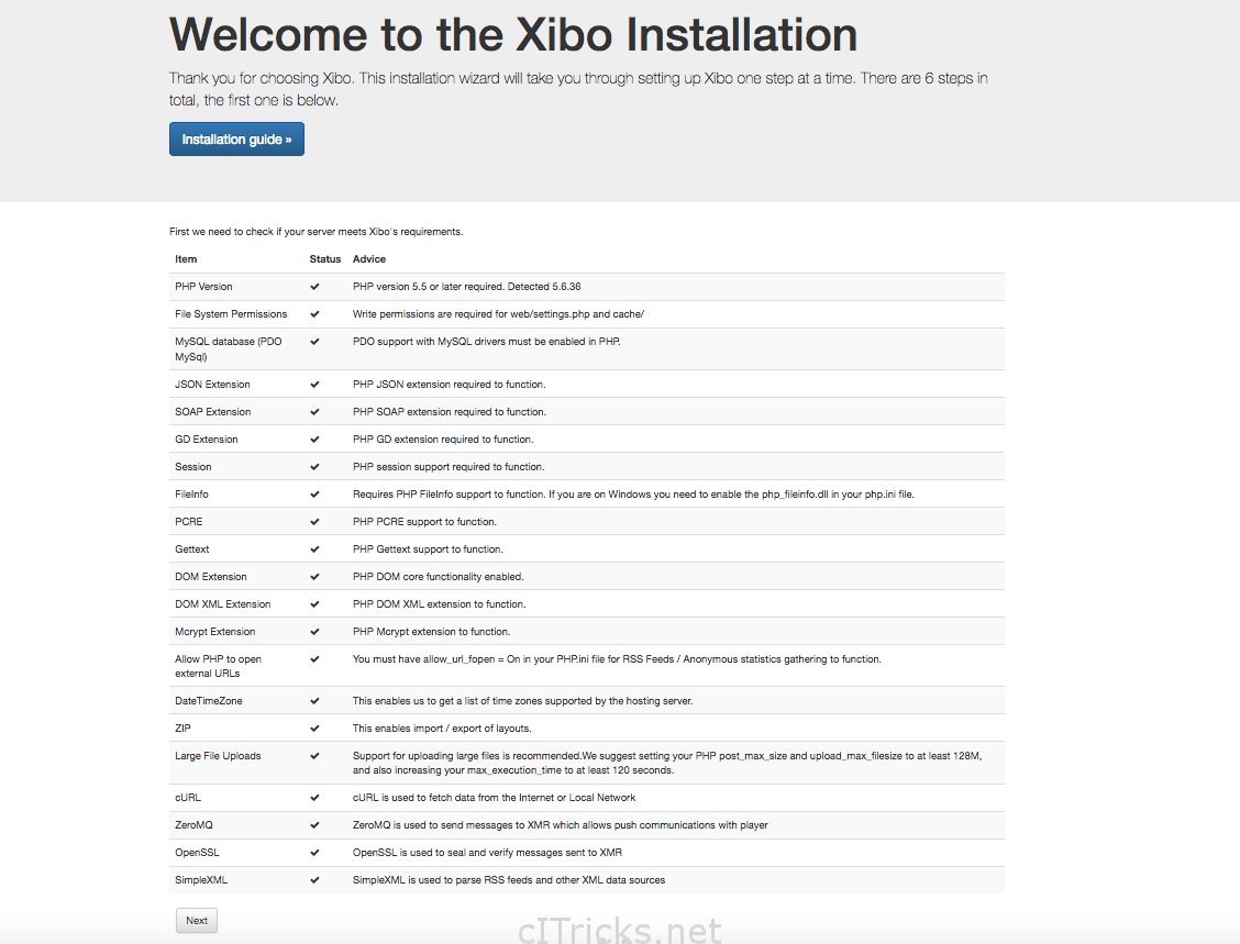 Xibo Upgrade Installation page